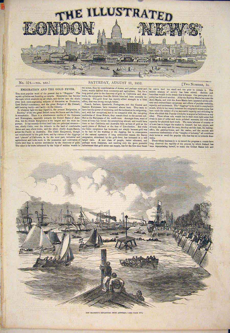 Print Antwerp Holland Queen 1852 22Maa1 Old Original