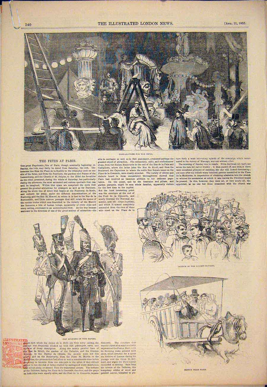 Print Fete Paris France Soldiers Fireworks Concorde 1852 40Amaa1 Old Original