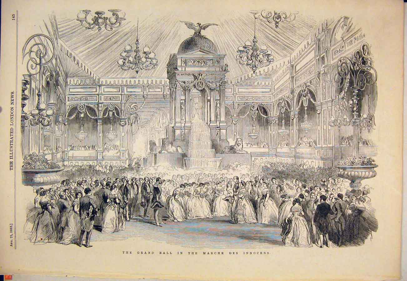 Print Grand Ball Marche Des Innocens France 1852 45Maa1 Old Original