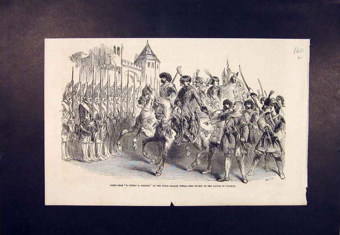 Print Royal Italian Opera Battle Pultava 1852 60Lmaa1 Old Original