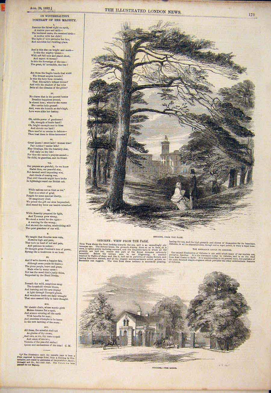 Print Osborne Park Lodge 1852 73Maa1 Old Original