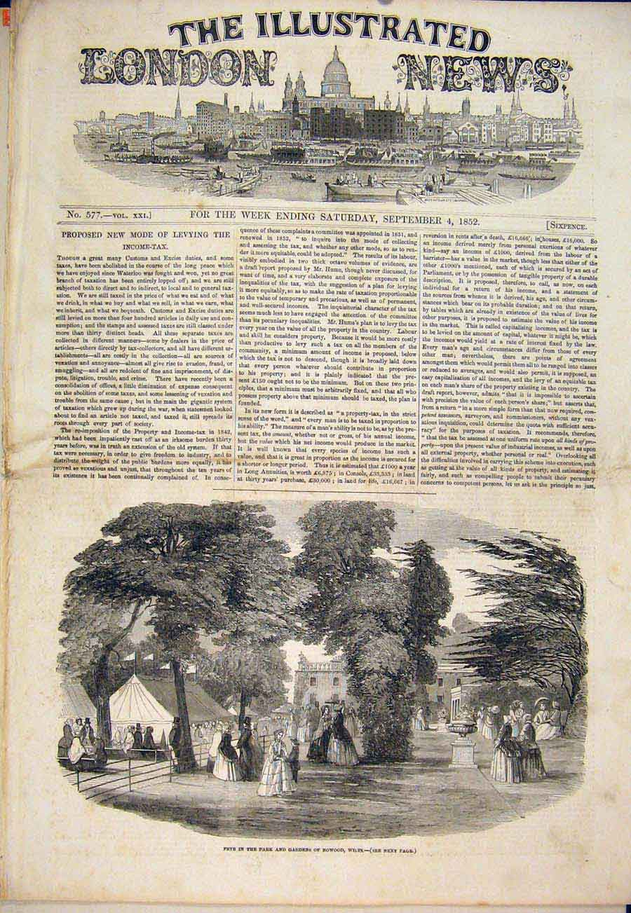 Print Fete Park Gardens Bowood Wiltshire 1852 78Maa1 Old Original