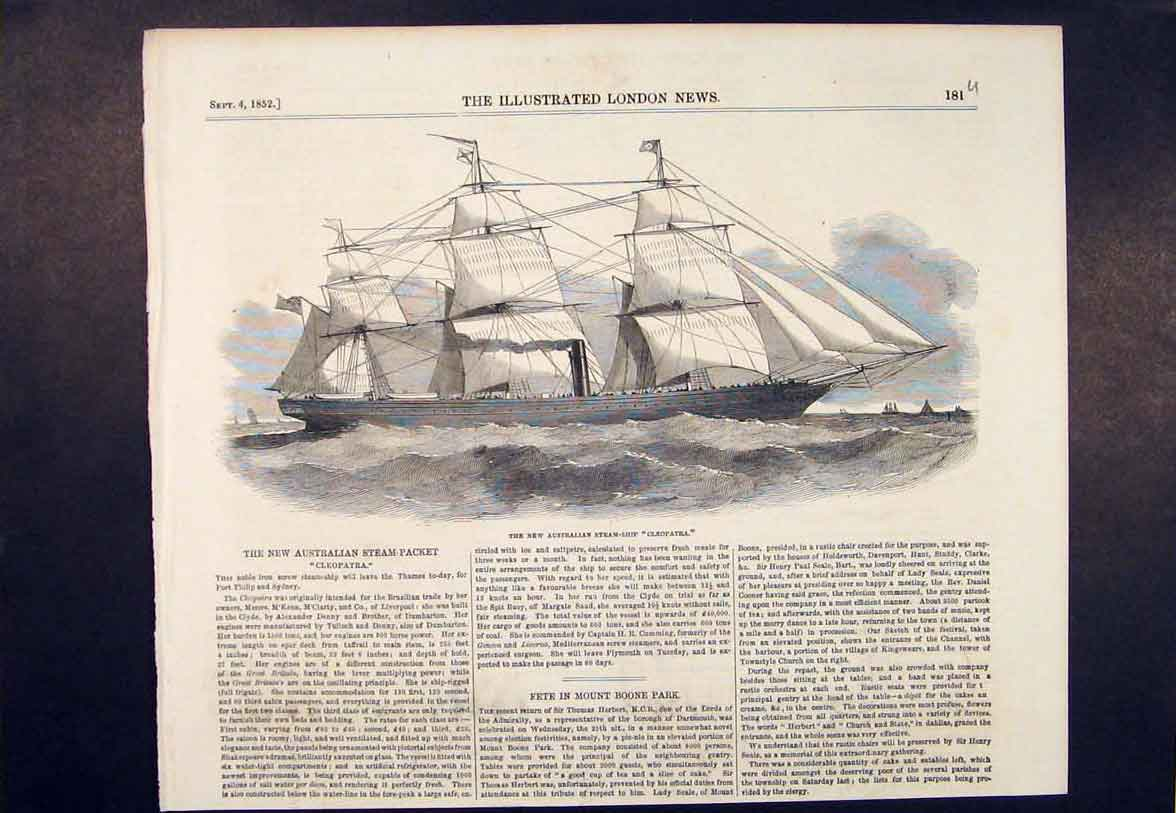 Print Australian Steam Ship Cleopatra Packet 1852 81Umaa1 Old Original