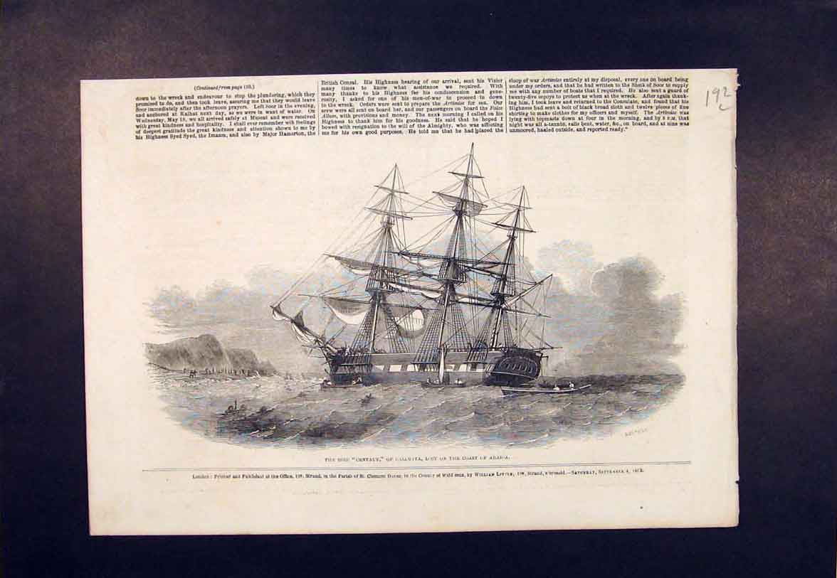 Print Ship Centaur Calcutta Arabia Coast 1852 92Lmaa1 Old Original