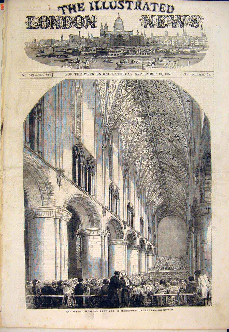 Print Grand Musical Hereford Cathedral Festival Music 1852 10Maa1 Old Original