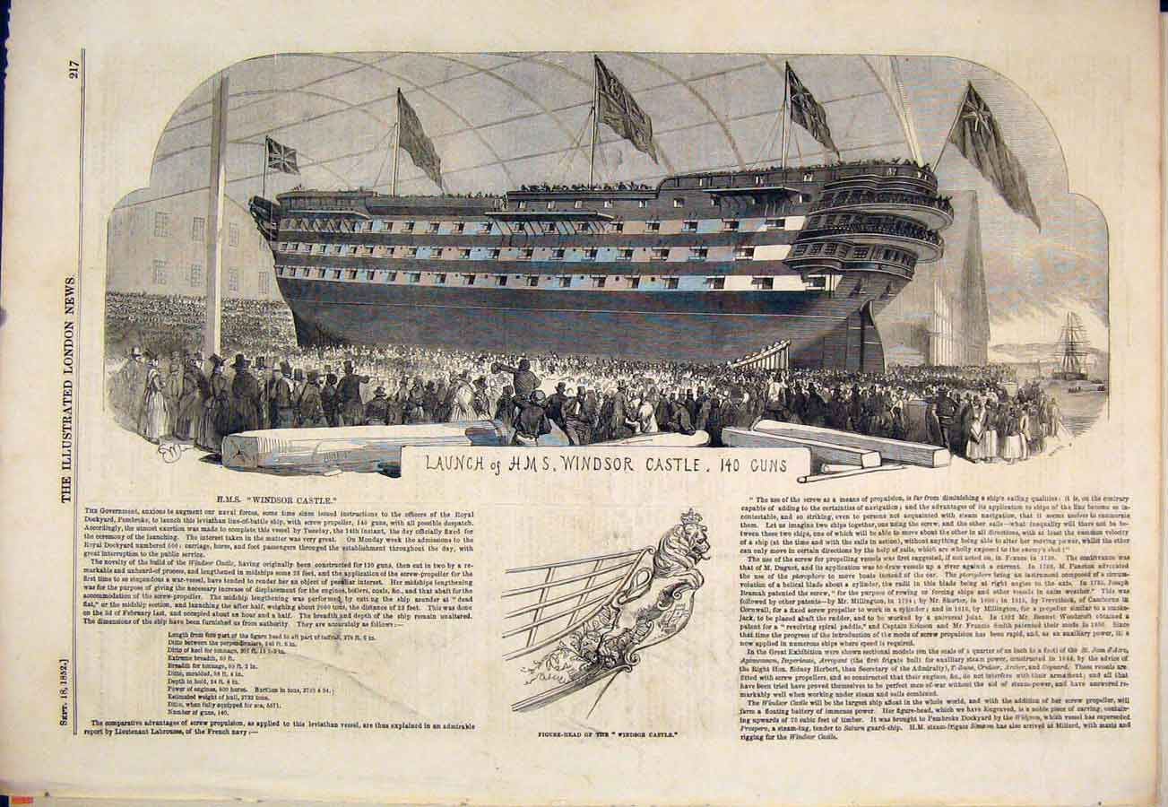 Print Hms Windsor Castle Ship Launch Guns 1852 17Maa1 Old Original