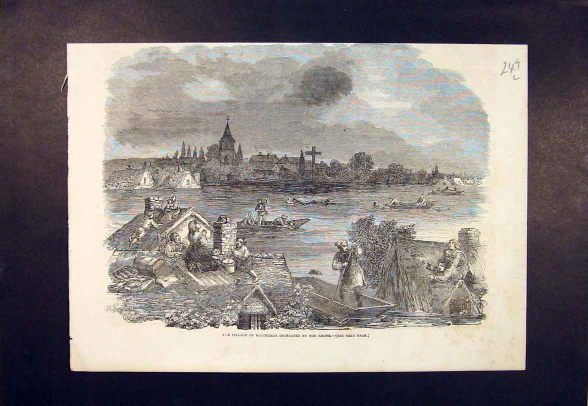 Print Village Boucharge Flood Rhone River Floods 1852 49Lmaa1 Old Original