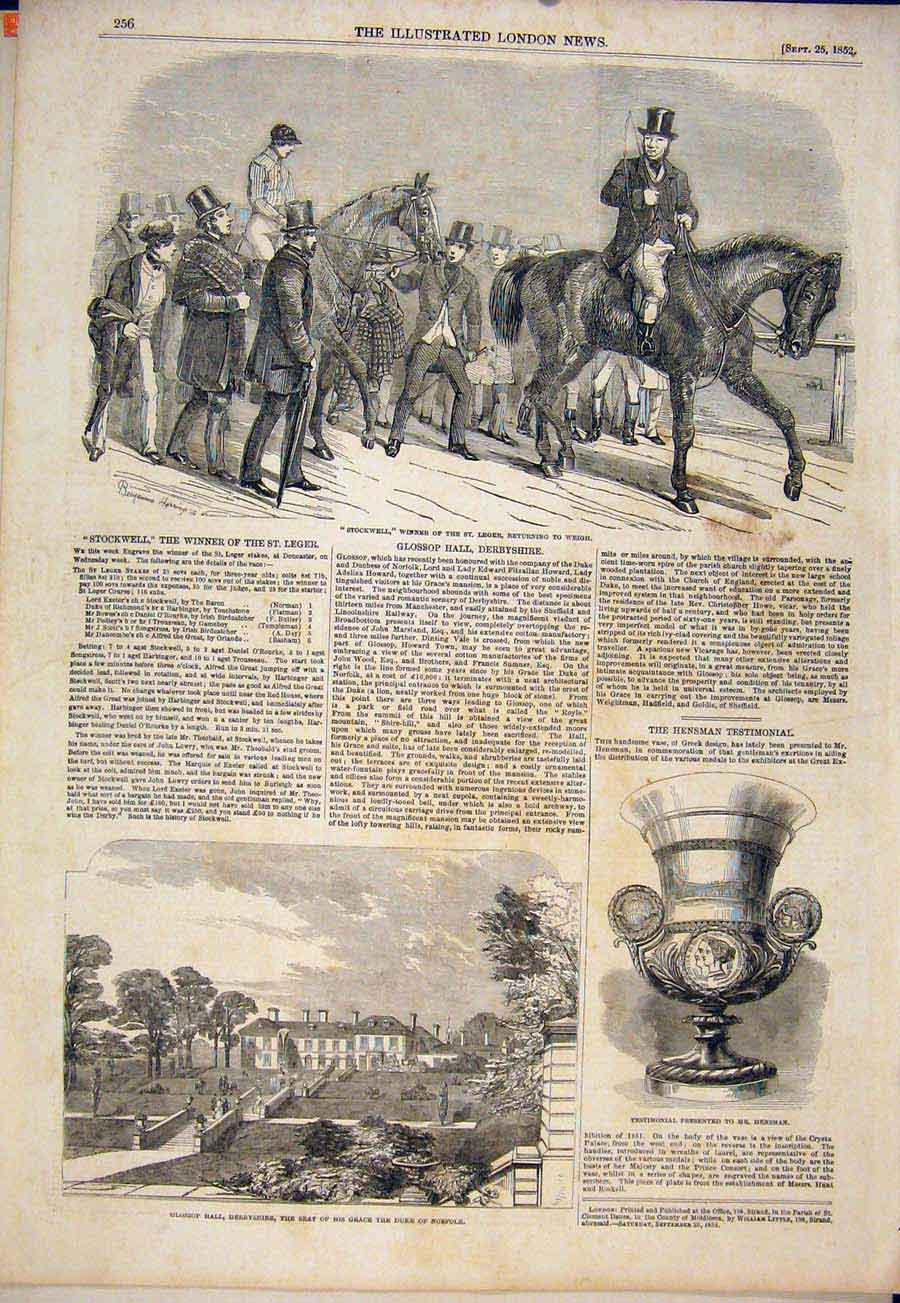 Print Stockwell St Leger Races Horse Race Glossoop Derbyshire 56Maa1 Old Original