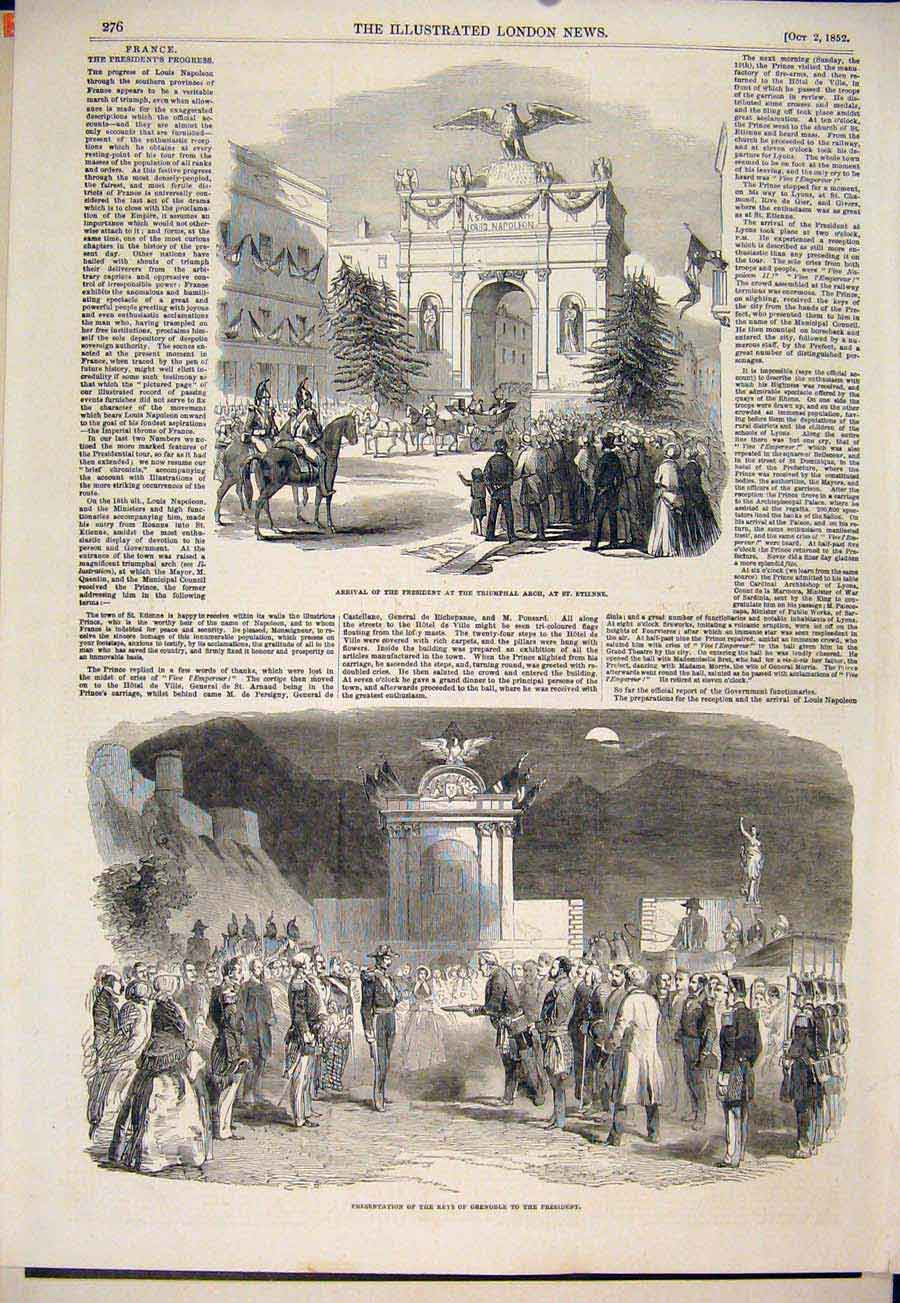 Print President Triumphal Arch St Etienne Grenoble 1852 76Maa1 Old Original