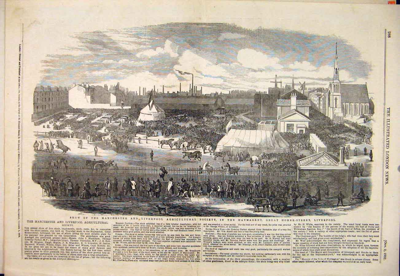 Print Manchester Liverpool Agriculture Haymarket 1852 88Maa1 Old Original
