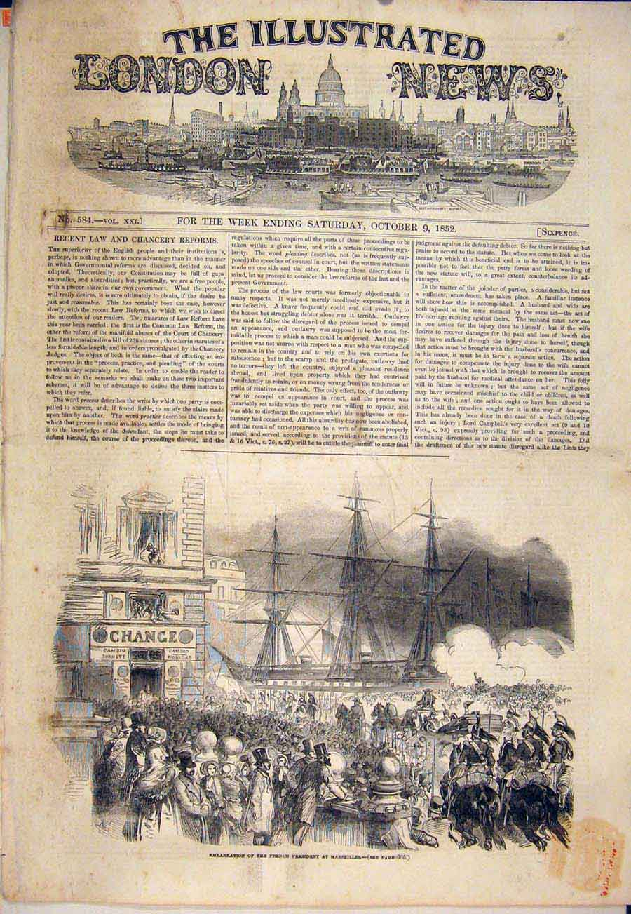 Print Marseilles French President France 1852 98Maa1 Old Original