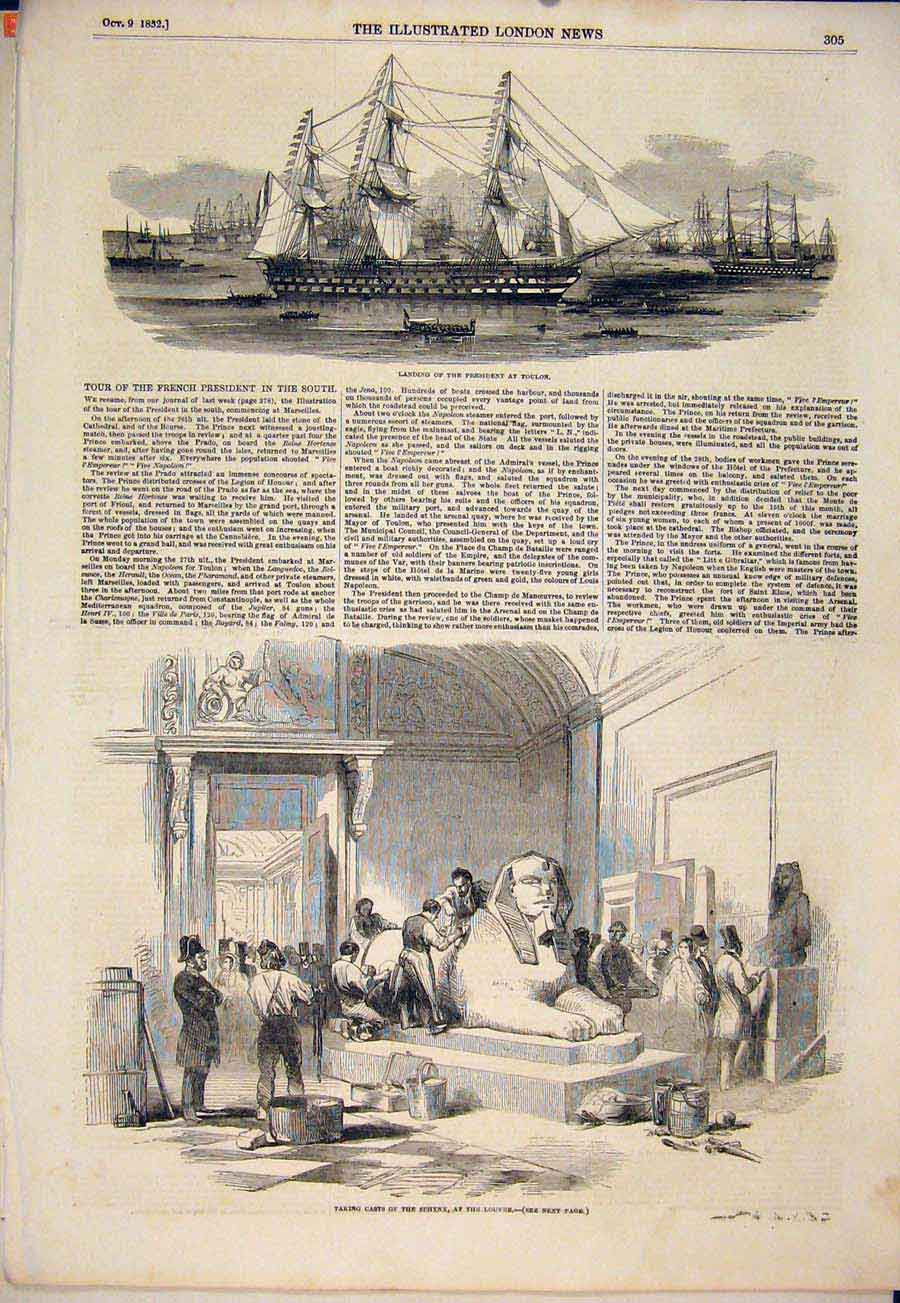 Print Toulon President Casts Sphynx Louvre France 1852 05Maa1 Old Original