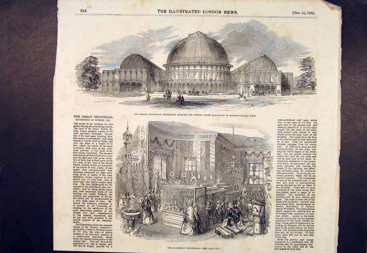 Print Industrial Exhibition Salisbury Dublin Ireland 1852 44Umaa1 Old Original