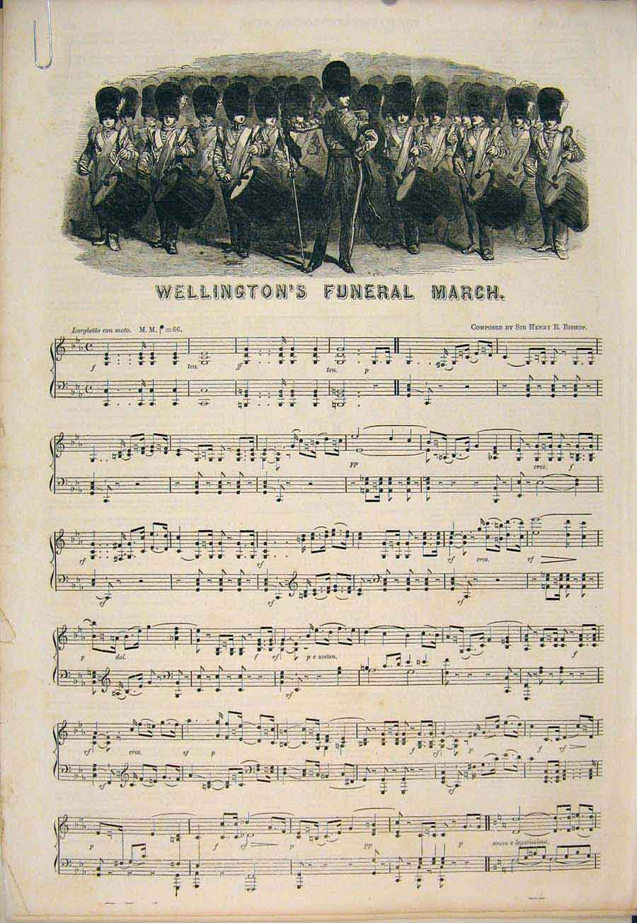 Print Funeral Wellington Song Sheet Music Score Bishop 1852 03Amaa1 Old Original