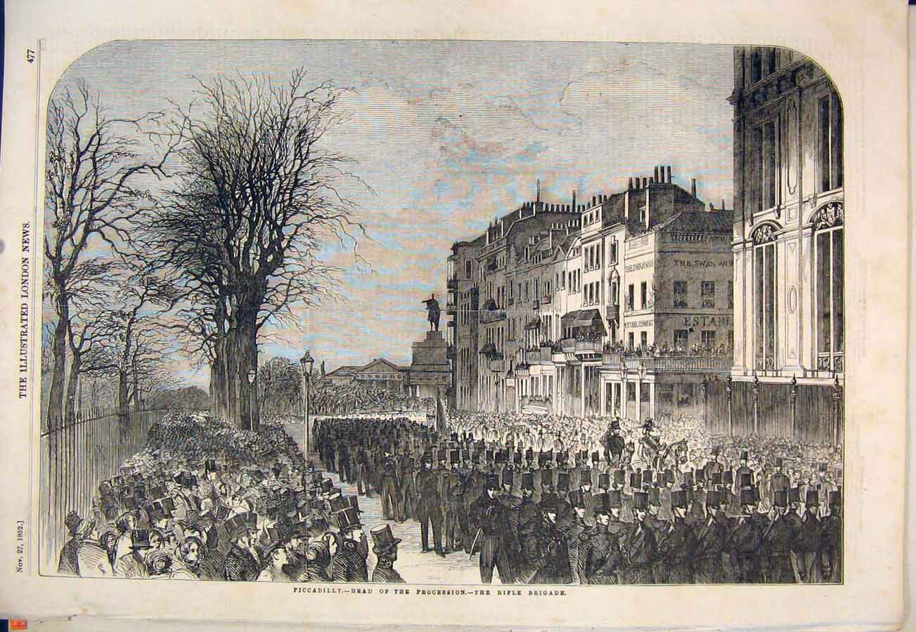 Print Piccadilly Rifle Brigade London Procession 1852 77Maa1 Old Original