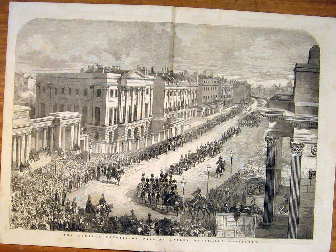 Print Funeral Procession Apsley House Artillery 1852 79Tmaa1 Old Original