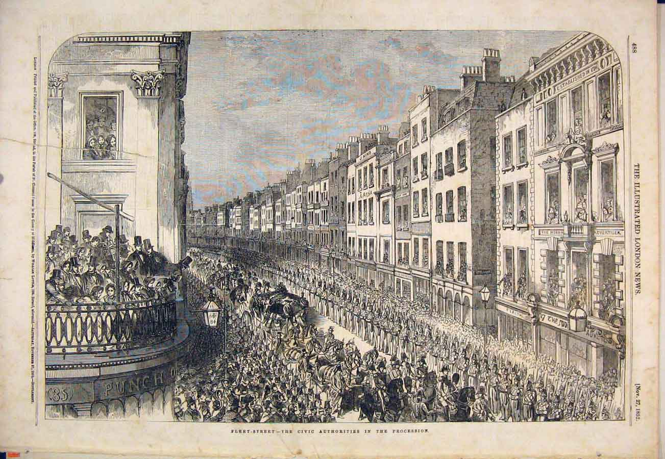 Print Fleet Street London Civic Procession 1852 88Maa1 Old Original