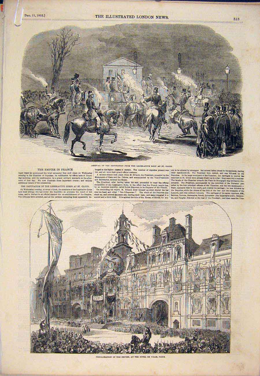 Print France Empire Paris St Cloud Napoleon 1852 13Amaa1 Old Original