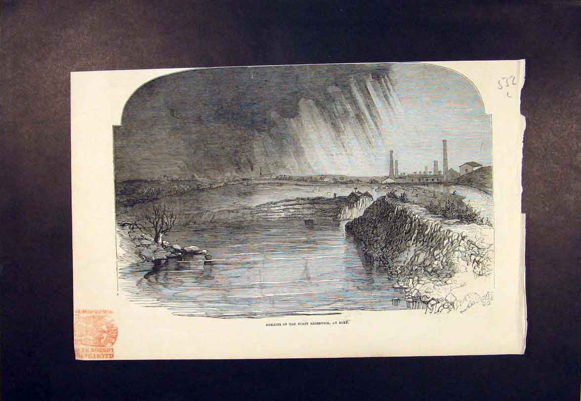 Print Resevoir Bury Burst Flood 1852 56Lmaa1 Old Original