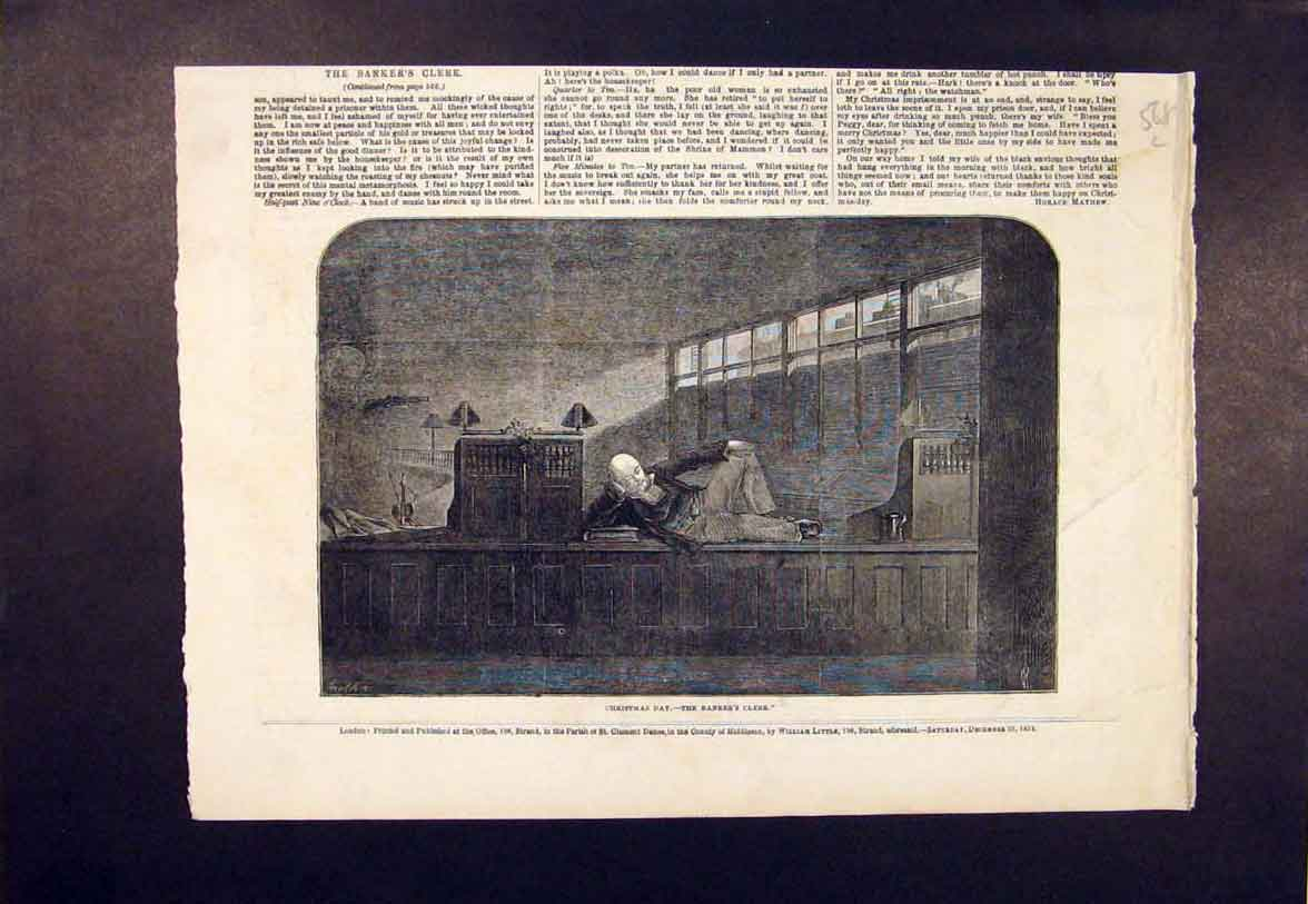 Print Christmas Day Banker'S Clerk Banker 1852 68Lmaa1 Old Original