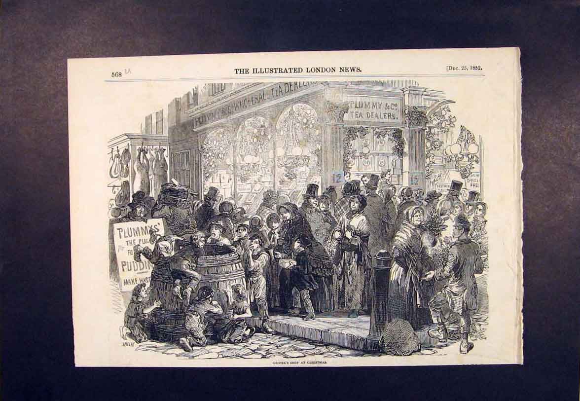 Print Grocer'S Shop Grocer Christmas London 1852 68Umaa1 Old Original