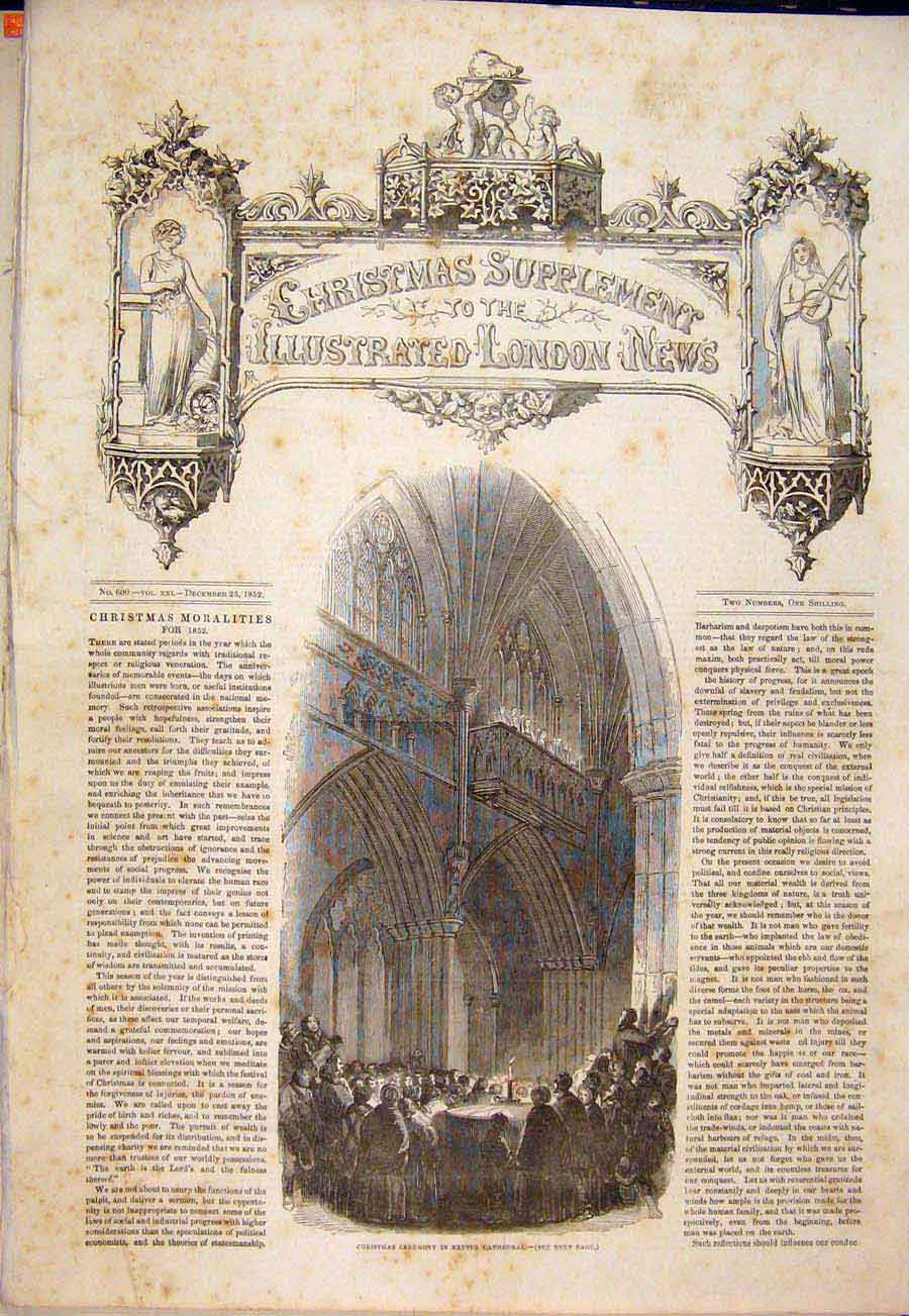 Print Christmas Ceremony Exeter Cathedral 1852 70Maa1 Old Original