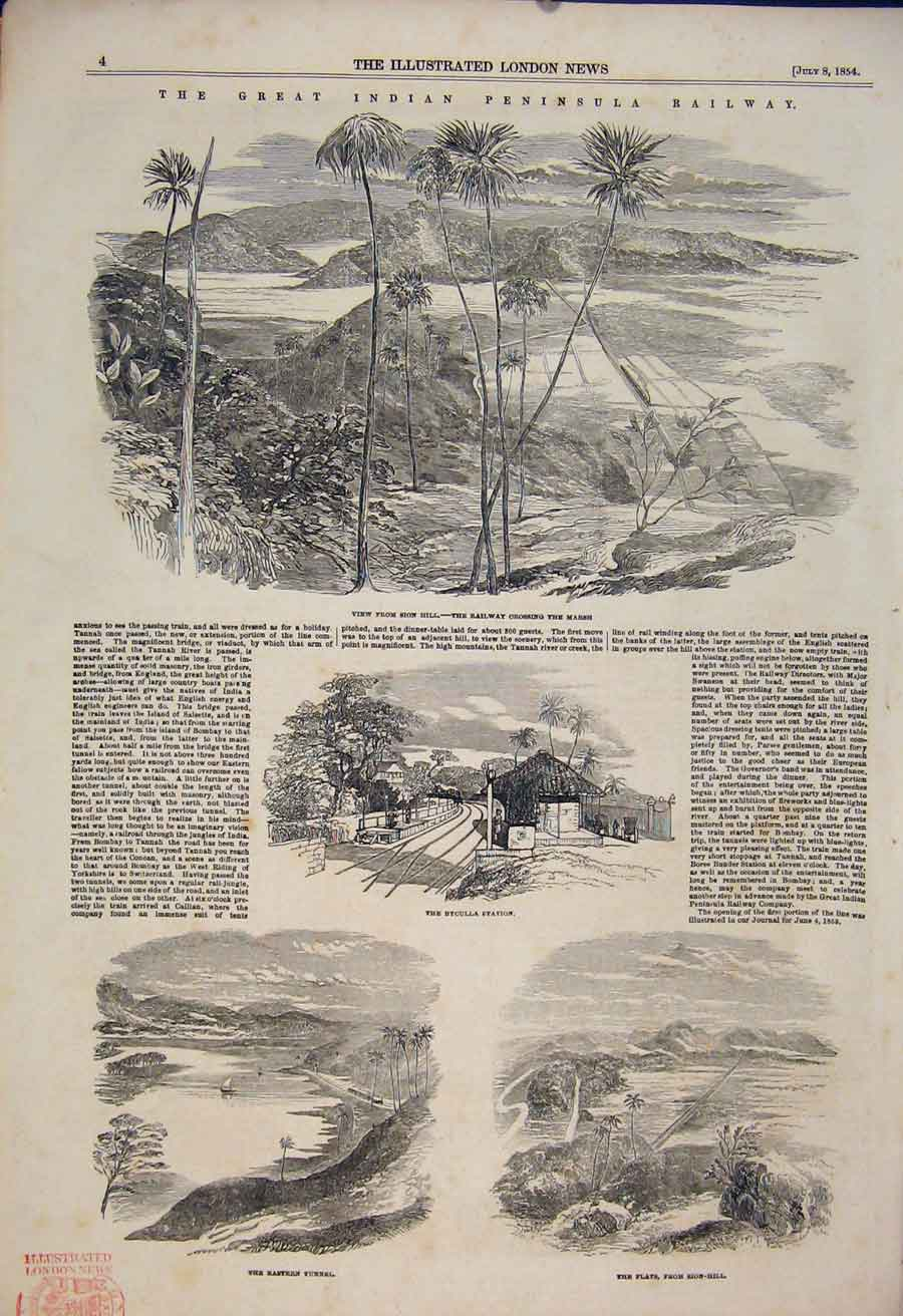 Print Indian Peninsular Railway Sion Byculla Station 1854 04Maa1 Old Original