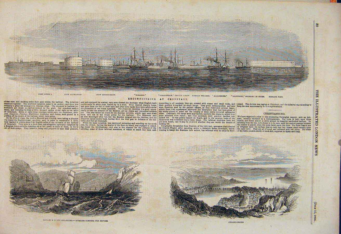 Print Cronstadt Fort Christiansund Russians 1854 32Maa1 Old Original