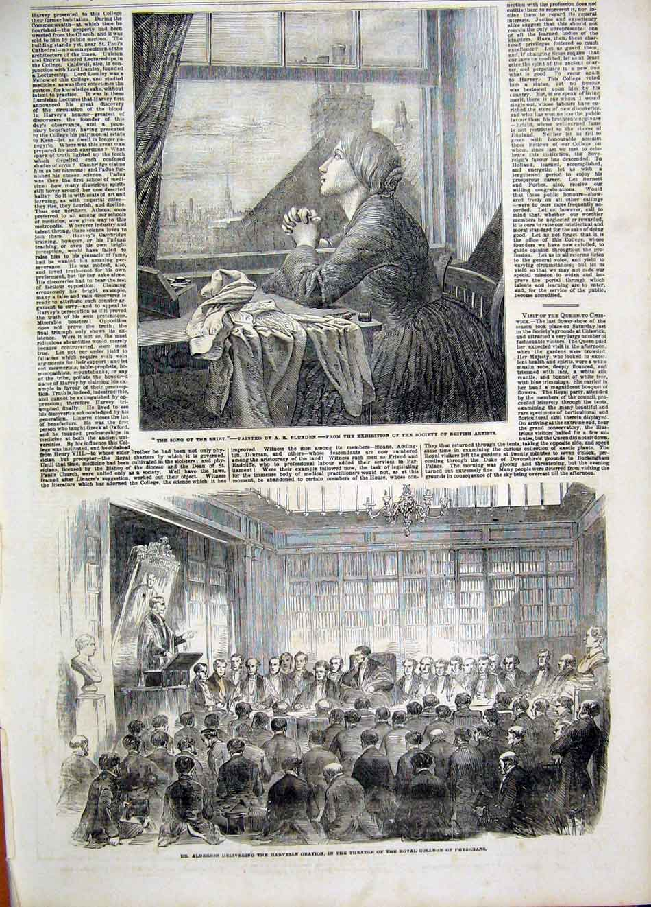 Print Song Blunden Lady Alderson Physicians College 1854 37Maa1 Old Original