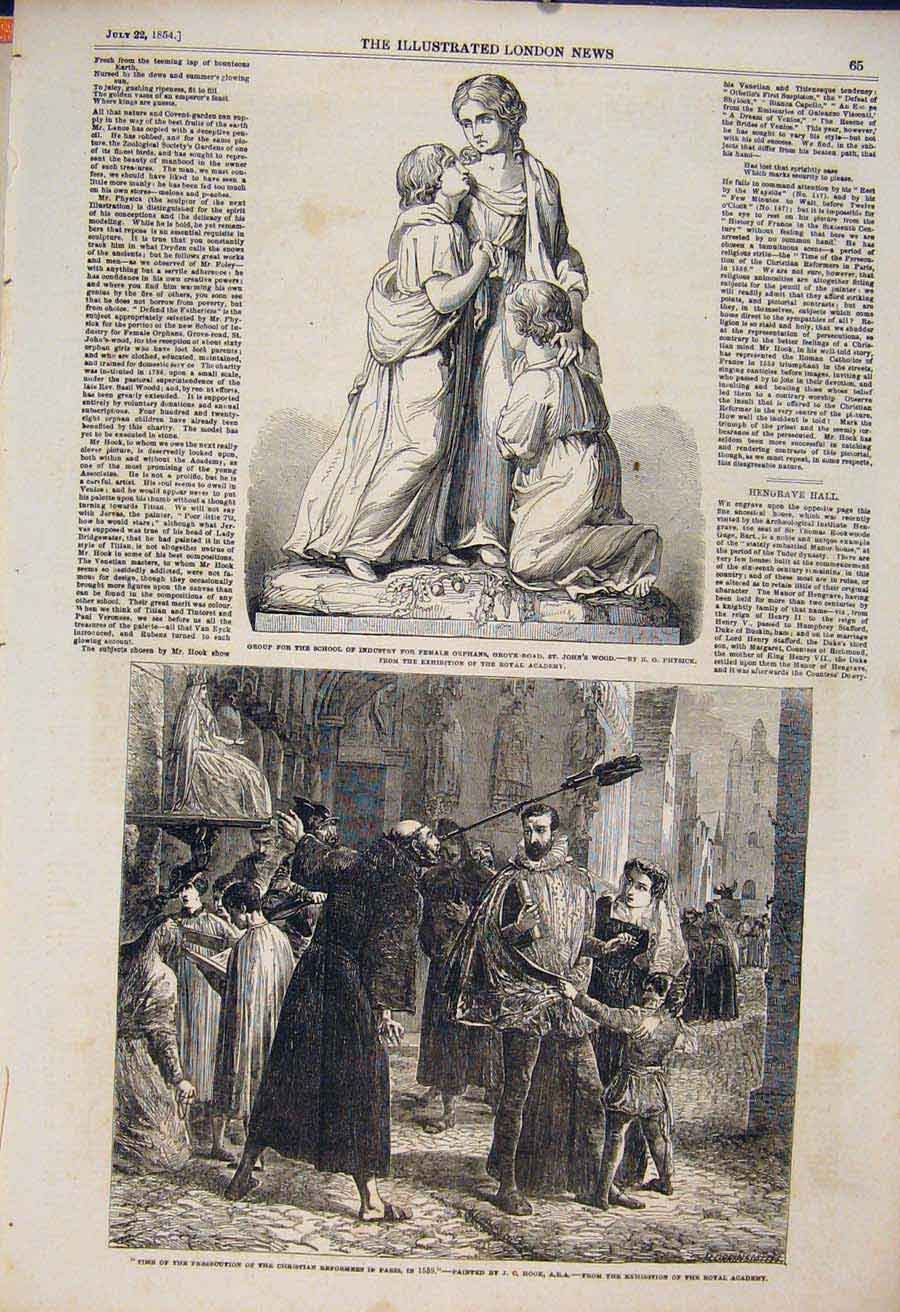 Print Physick Statue School Industry Orphans Hook Christian 65Maa1 Old Original