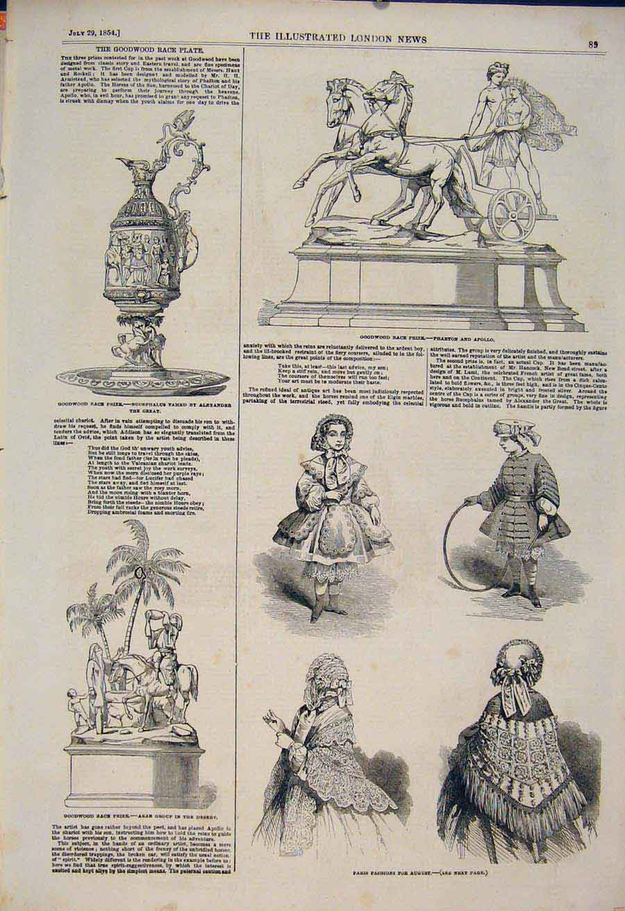 Print Goodwood Races Race Prizes Paris Fashions 1854 89Maa1 Old Original