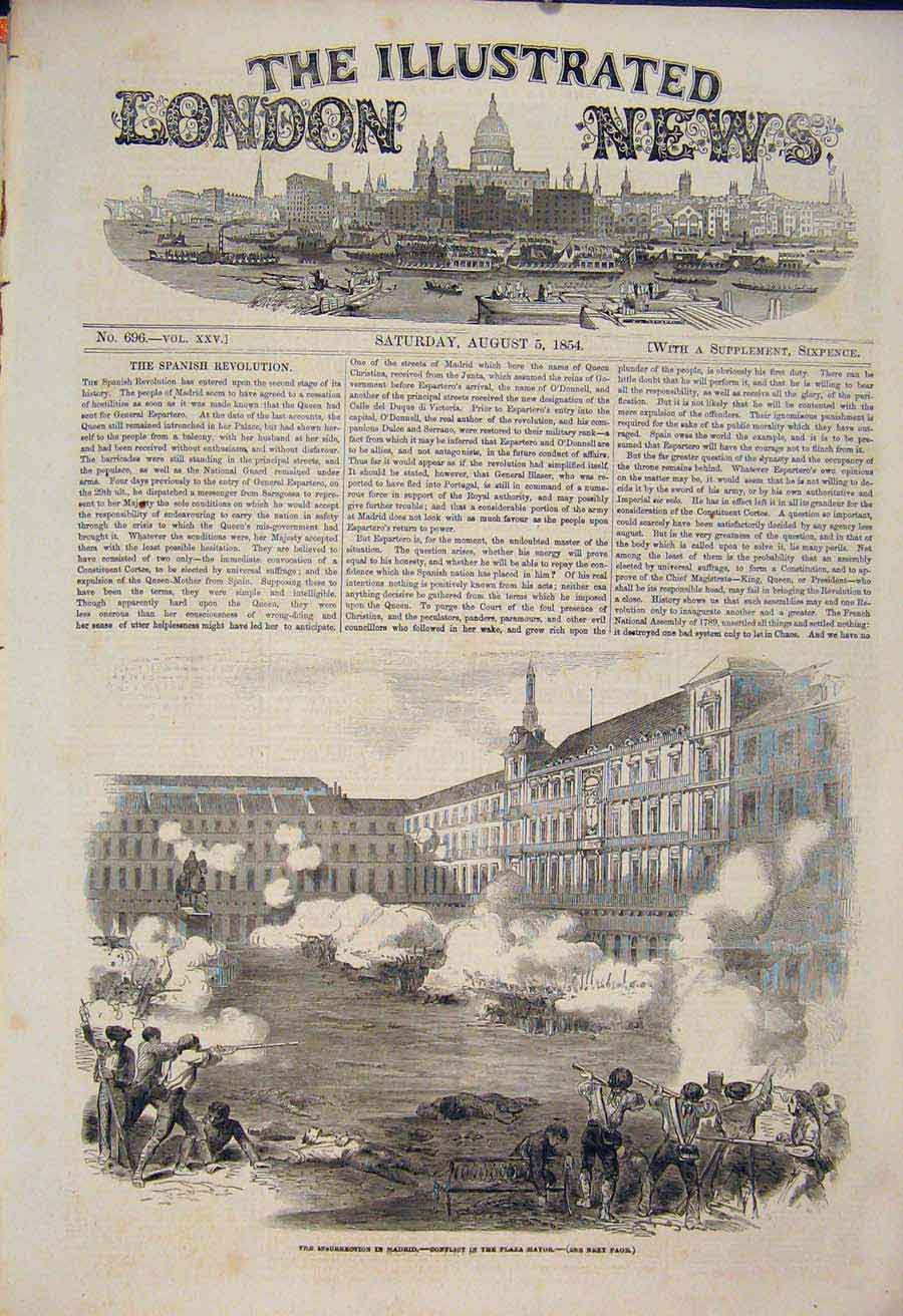 Print Madrid Plaza Major War Battle Military 1854 02Maa1 Old Original
