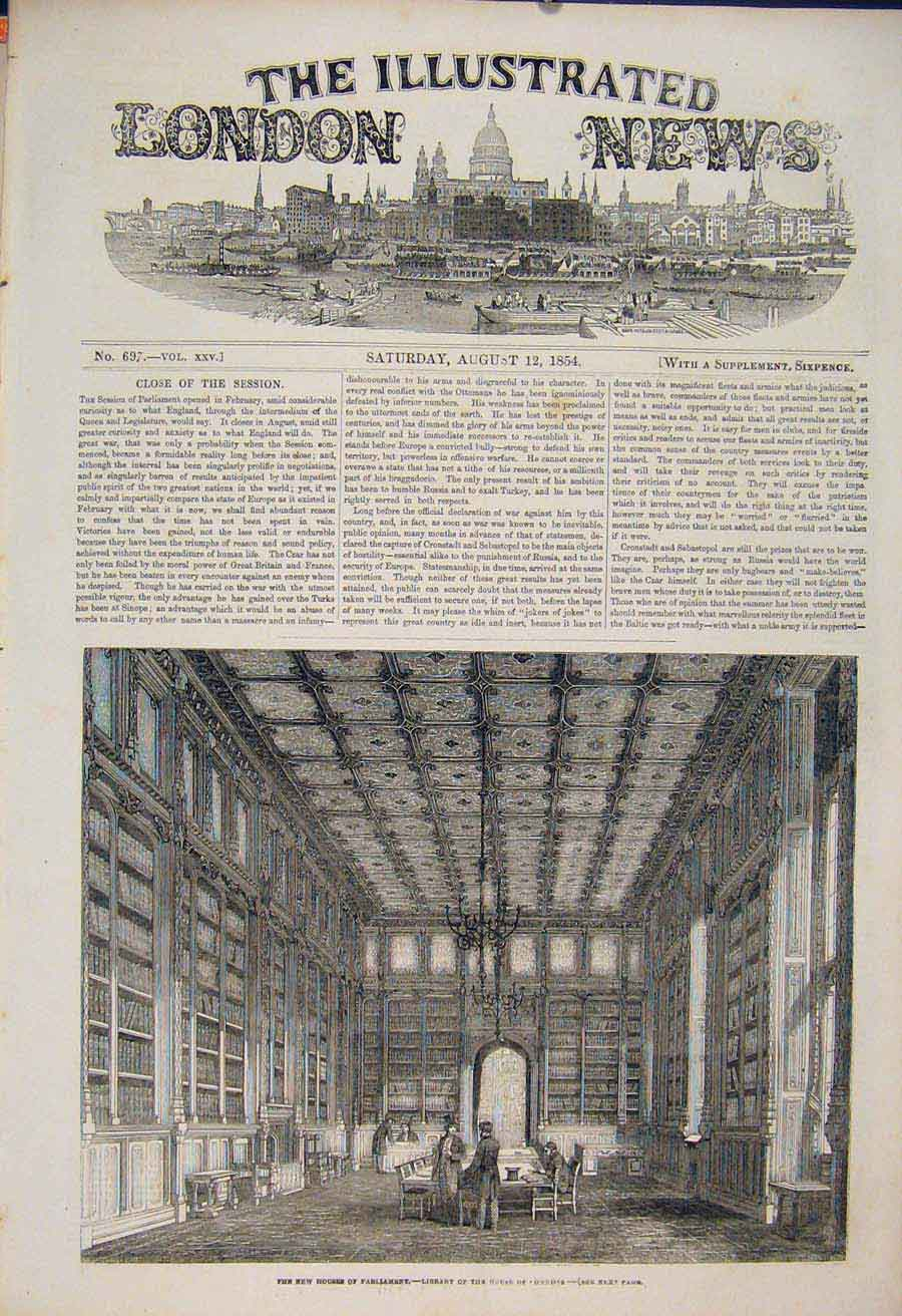Print Houses Parliament Commons Library London 1854 26Maa1 Old Original
