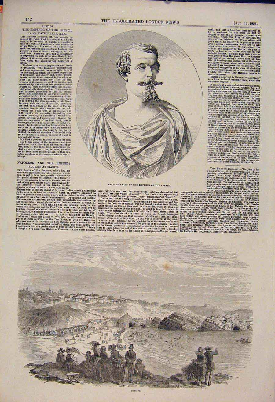 Print Bust Park French Emperor Biaritz Napoleon 1854 52Maa1 Old Original