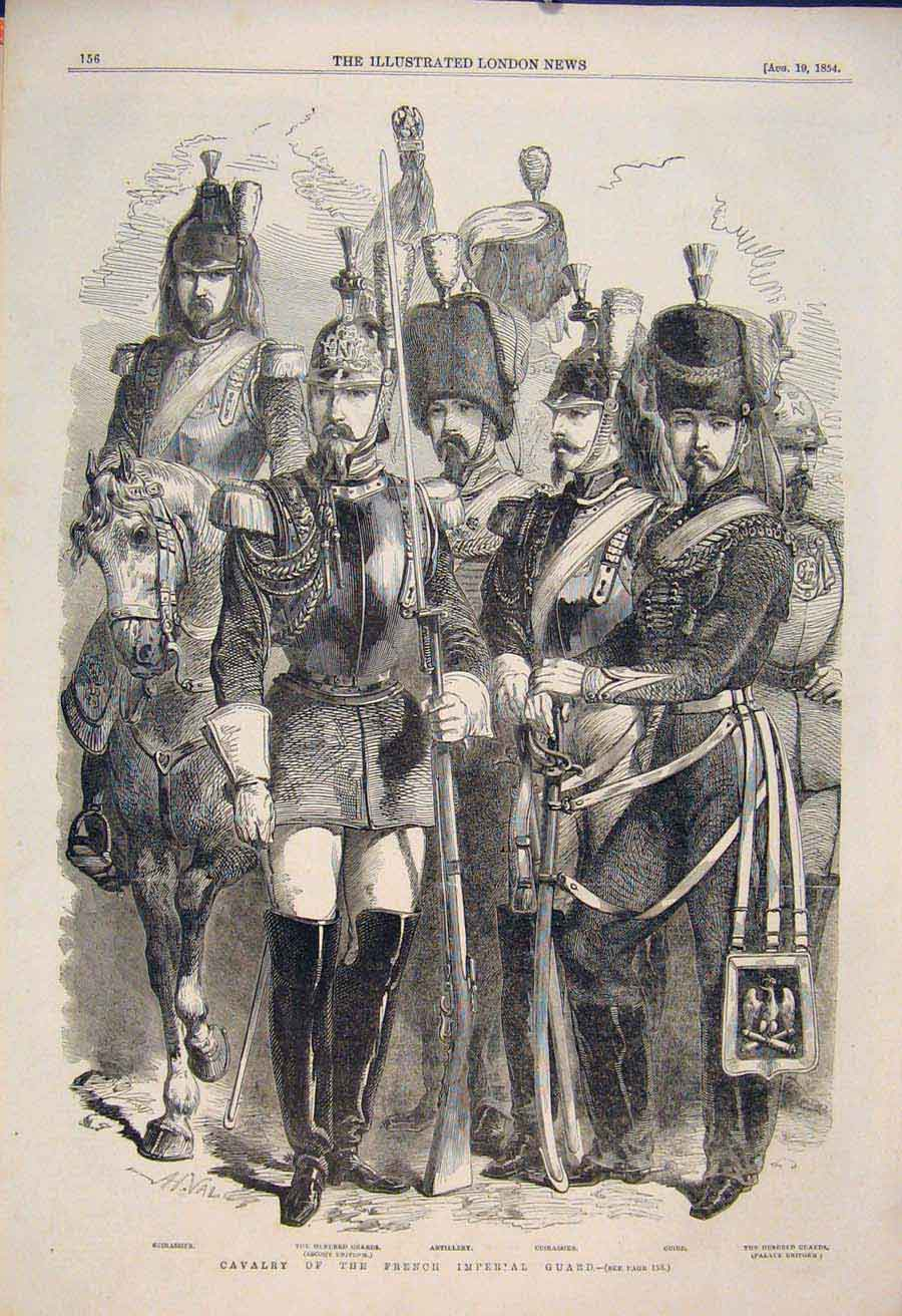 Print Cavalry French Imperial Guard Artillery Guards 1854 56Maa1 Old Original