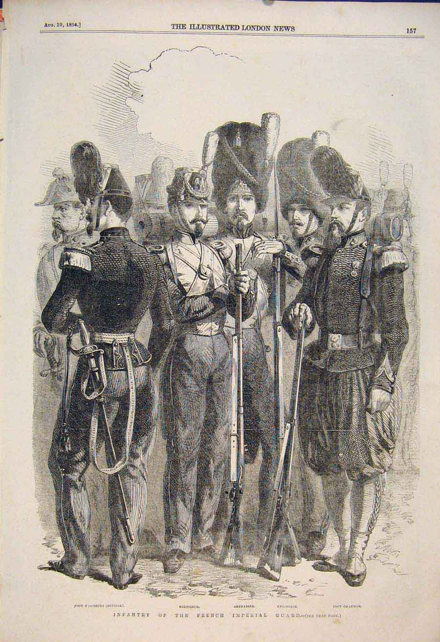 Print Infantry French Imperial Guard Grenadier Engineers 1854 57Maa1 Old Original
