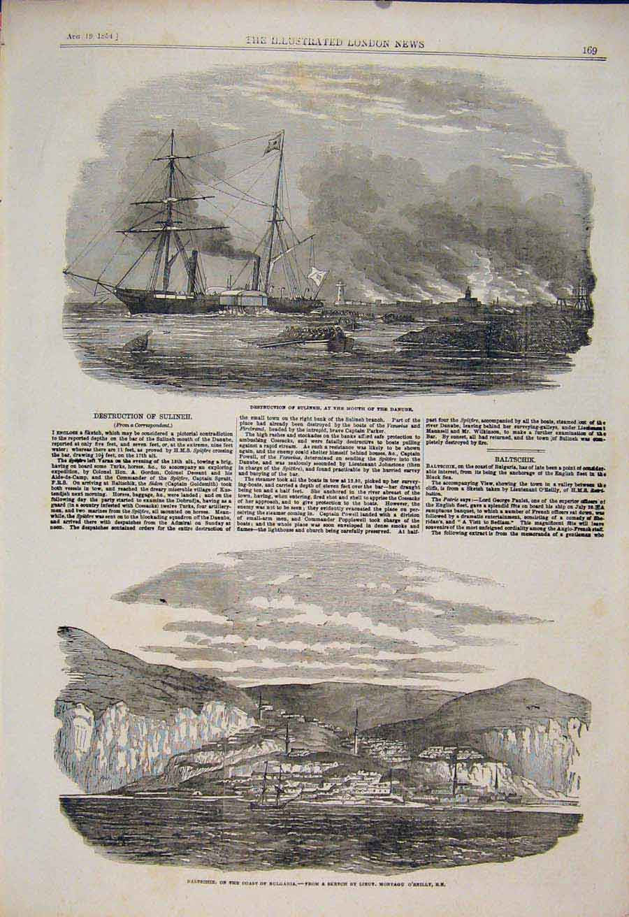 Print Sulineh Danube Ship Wreck Baltschik Bulgaria 1854 69Maa1 Old Original