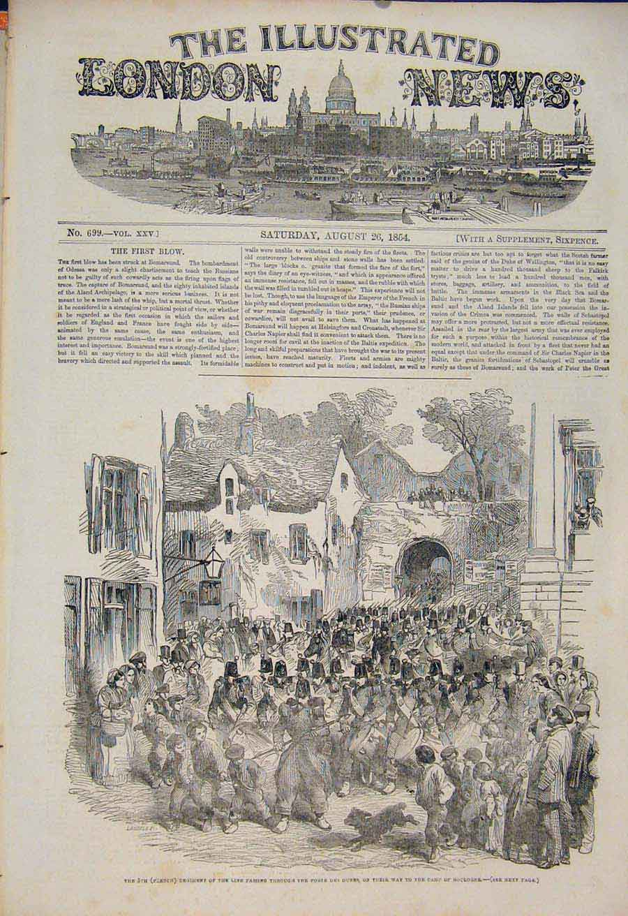 Print Porte Des Dunes French Regiment Boulogne War 1854 74Maa1 Old Original