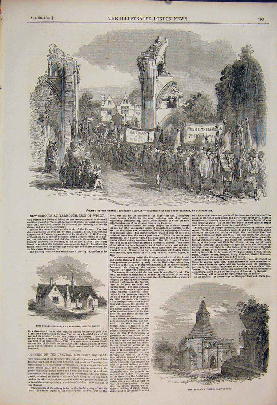 Print Somerset Railway Abbey Glastonbury School Yarmouth 1854 85Maa1 Old Original