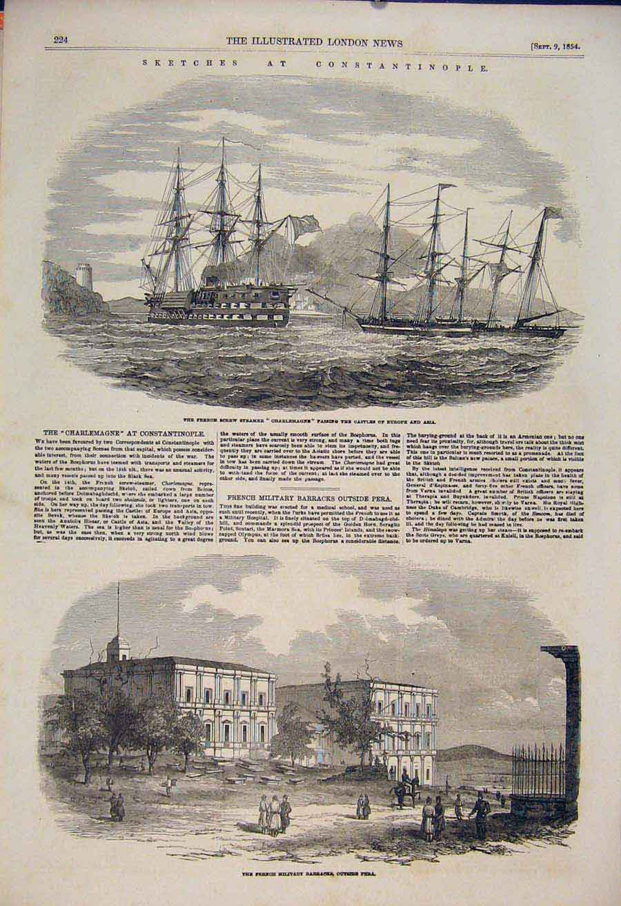 Print Sketches Constantinople Charlemagne Military Pera 1854 24Maa1 Old Original