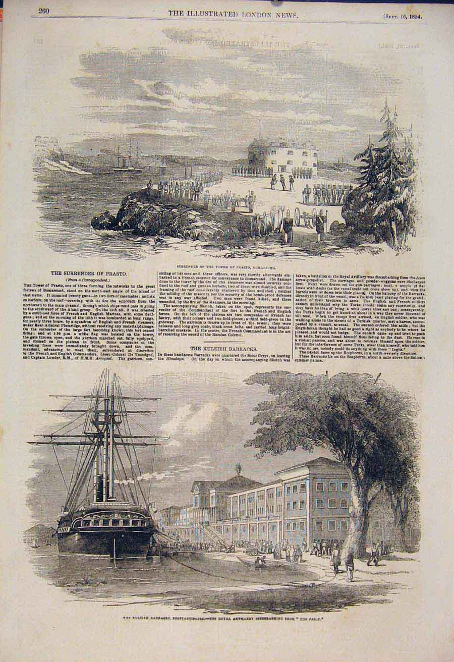 Print Tower Prasto Bomarsund Constantinople Military 1854 60Maa1 Old Original
