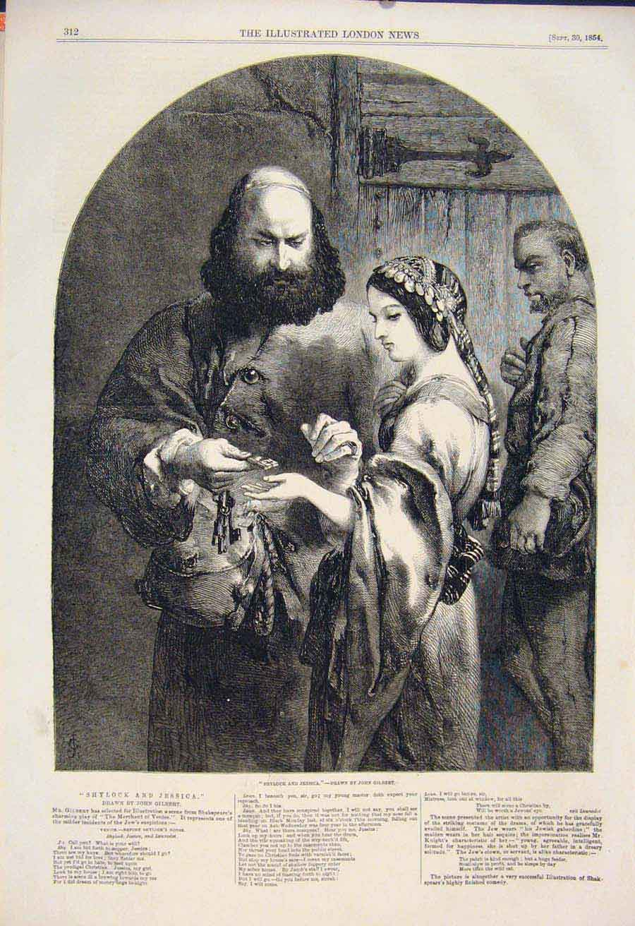 Print Shylock Jessica Gilbert Shakespeare Theatre Art 12Maa1 Old Original