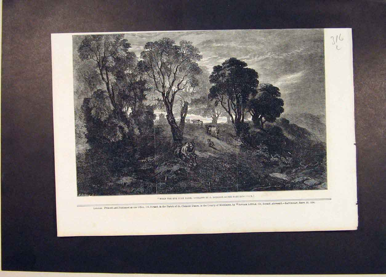 Print Cow Cows Home Dodgson Farm Fine Art 1854 16Lmaa1 Old Original