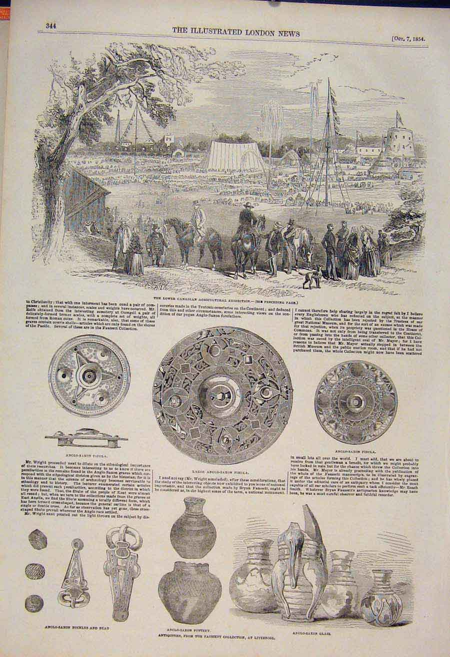 Print Canadian Agricultural Exhibition Anglo Saxon Artefacts 44Maa1 Old Original