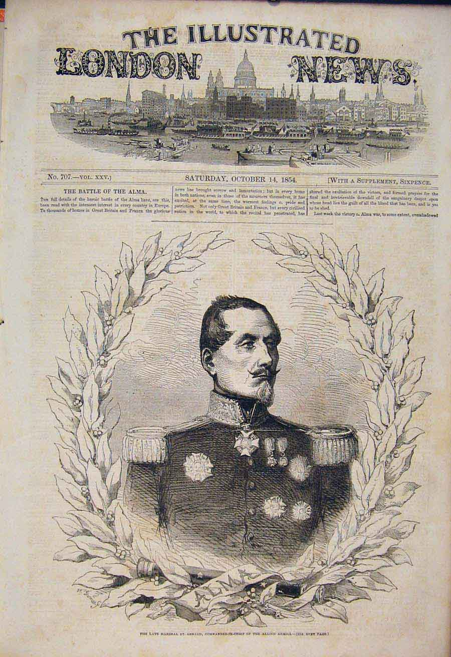 Print Portrait St Arnaud Allied Armies Military 1854 58Maa1 Old Original