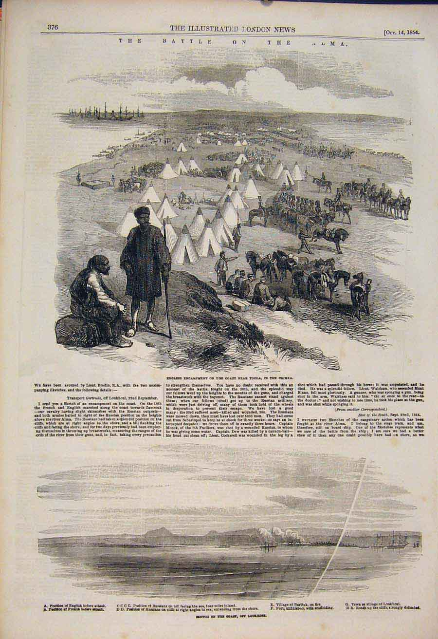 Print Battle Alma Crimea Loukhoui Toula Military 1854 76Amaa1 Old Original