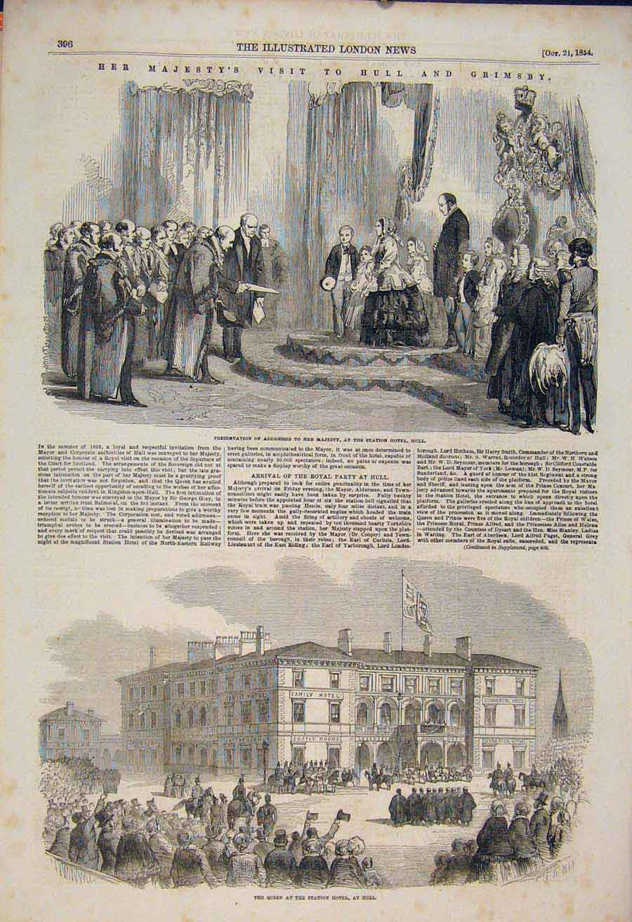 Print Staion Hotel Hull Royal Party Grimsby 1854 96Maa1 Old Original