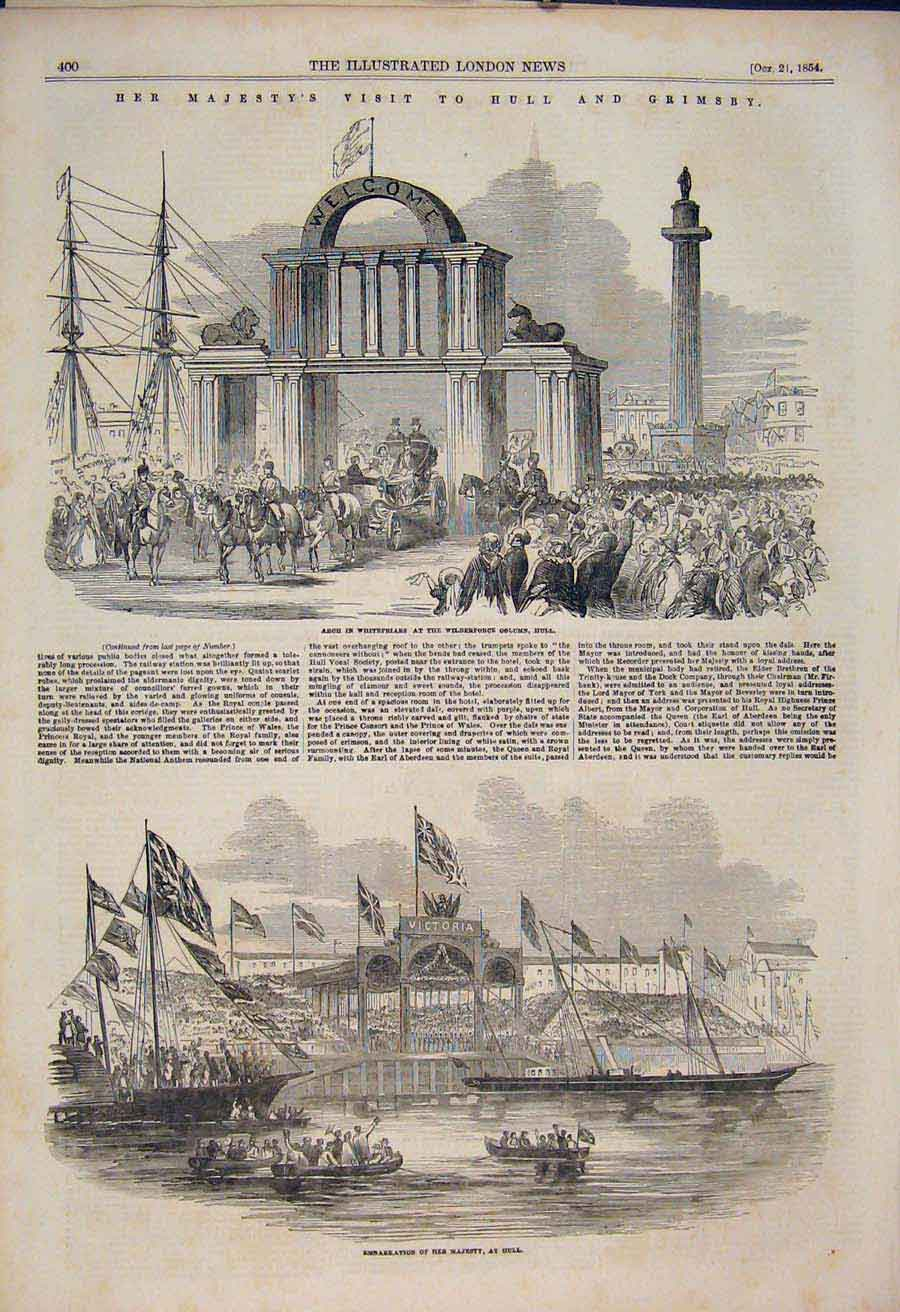 Print Hull Grimsby Queen Victoria Dock Whitefriars 1854 00Amaa1 Old Original