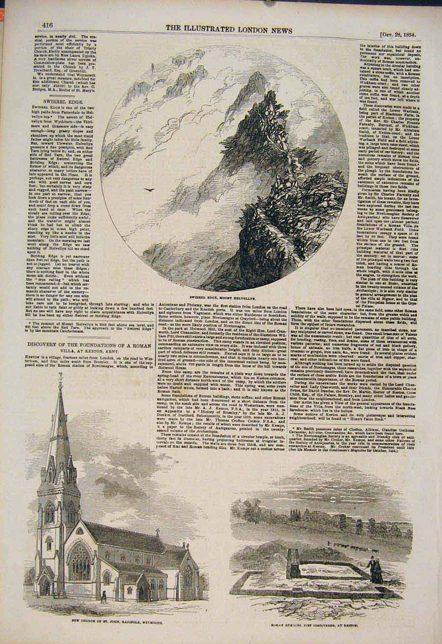Print Swirrel Edge Helvellyn Church Weymouth Keston Roman 16Maa1 Old Original