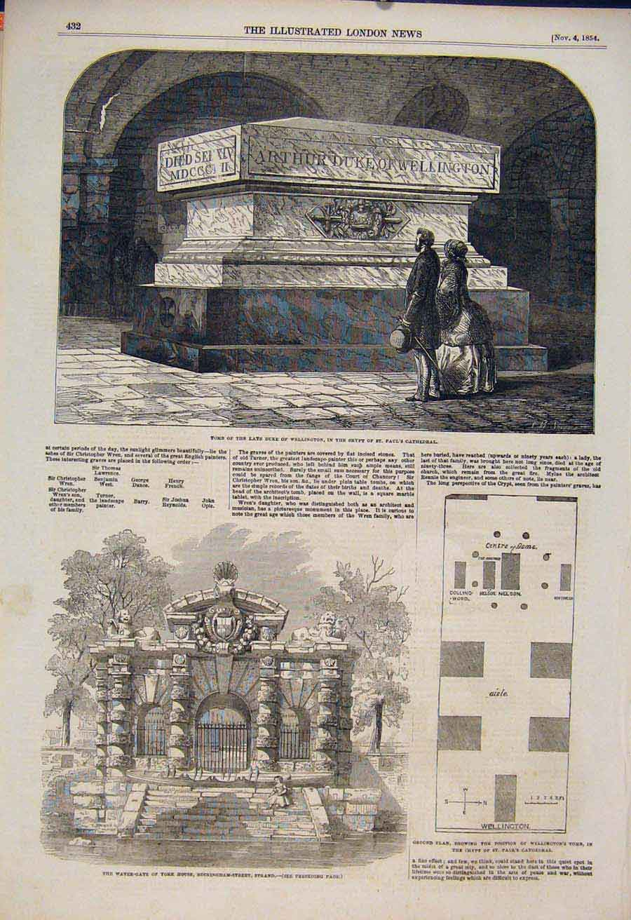 Print Tomb Wellington Crypt Cathedral York Water Gate 1854 32Maa1 Old Original